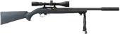 Ruger .22 rifle with bipod and scope